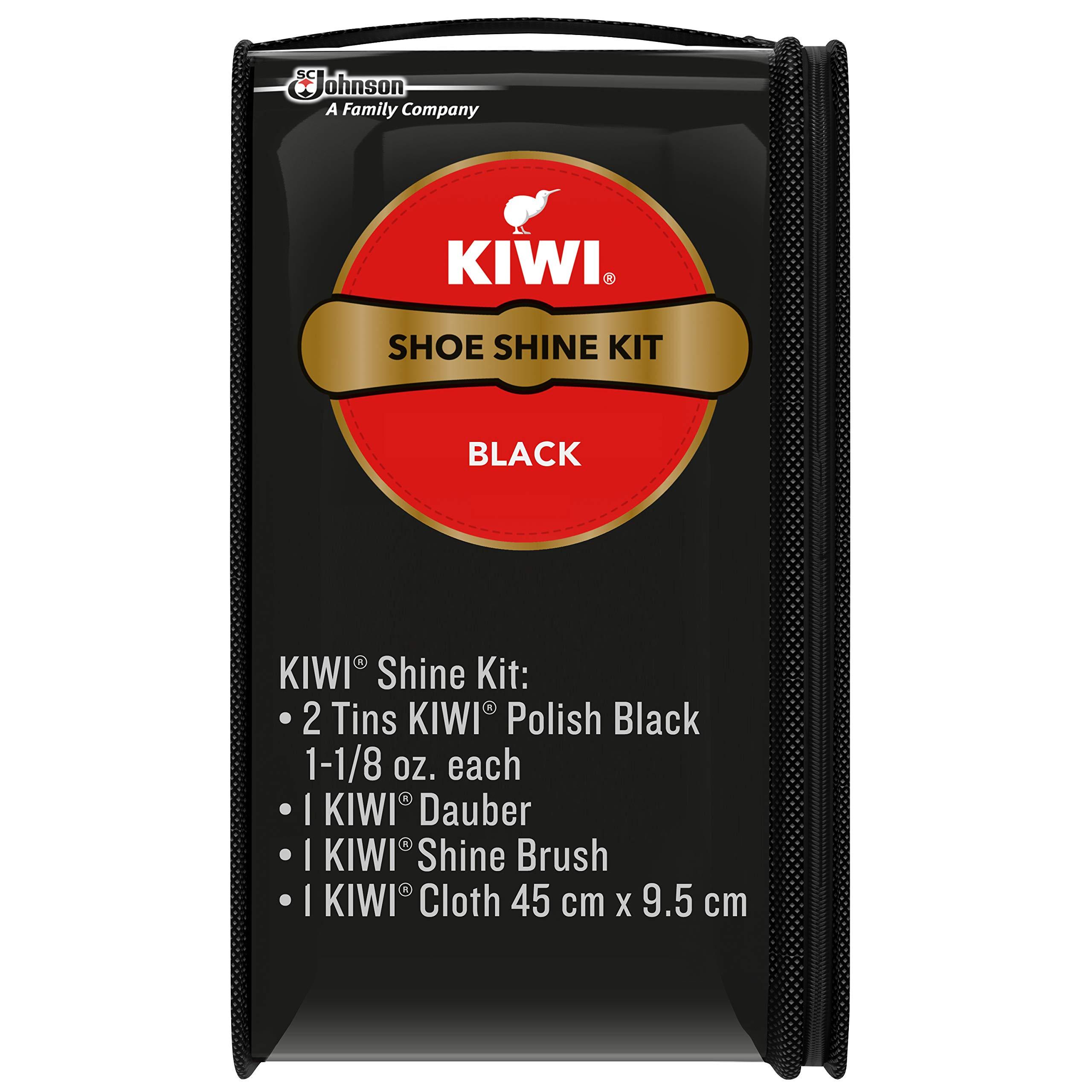 Kiwi Shoe Shine Kit, Negro (2 latas, 1 cepillo, 1 Dauber y 1