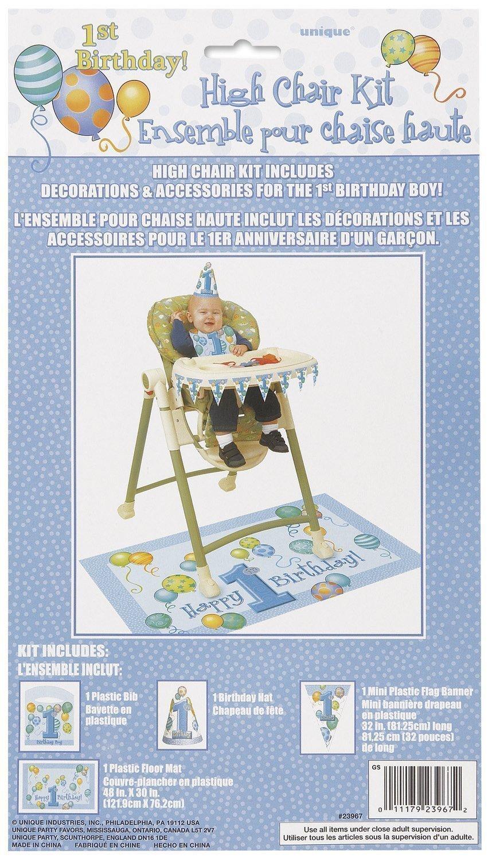 /Bleu Kit de d/écoration pour premier anniversaire ballons Chaise haute/