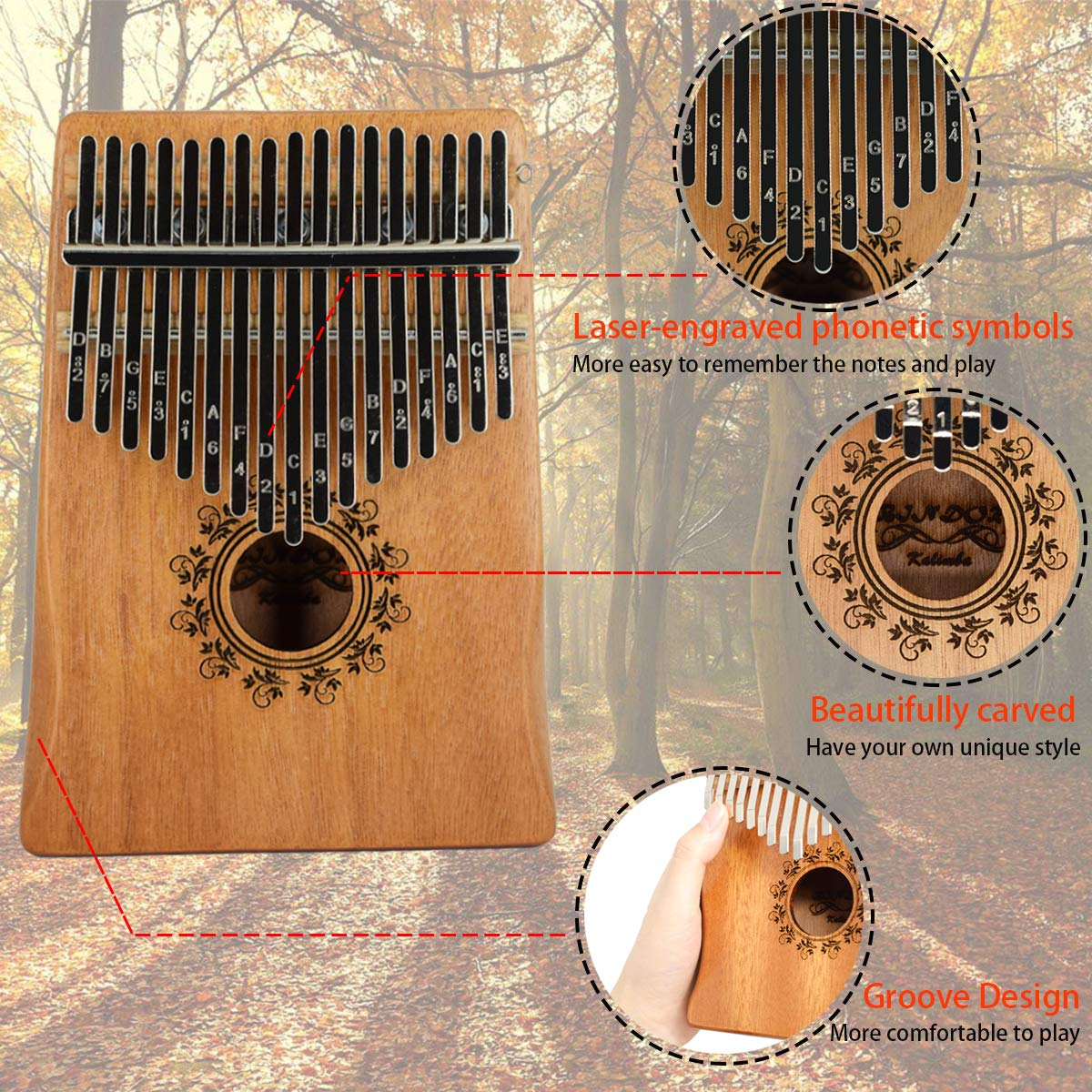 17 Key Kalimba Thumb Piano, Bindor Finger Piano Mbira Kalimba Solid Mahogany Body Portable Easy-to-learn Musical Instrument with Tuning Hammer(Wood Color) by BinDor (Image #2)
