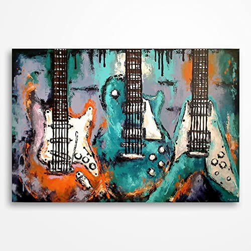 Amazon.com: Guitar painting, Guitar art, Music art, Music wall art ...