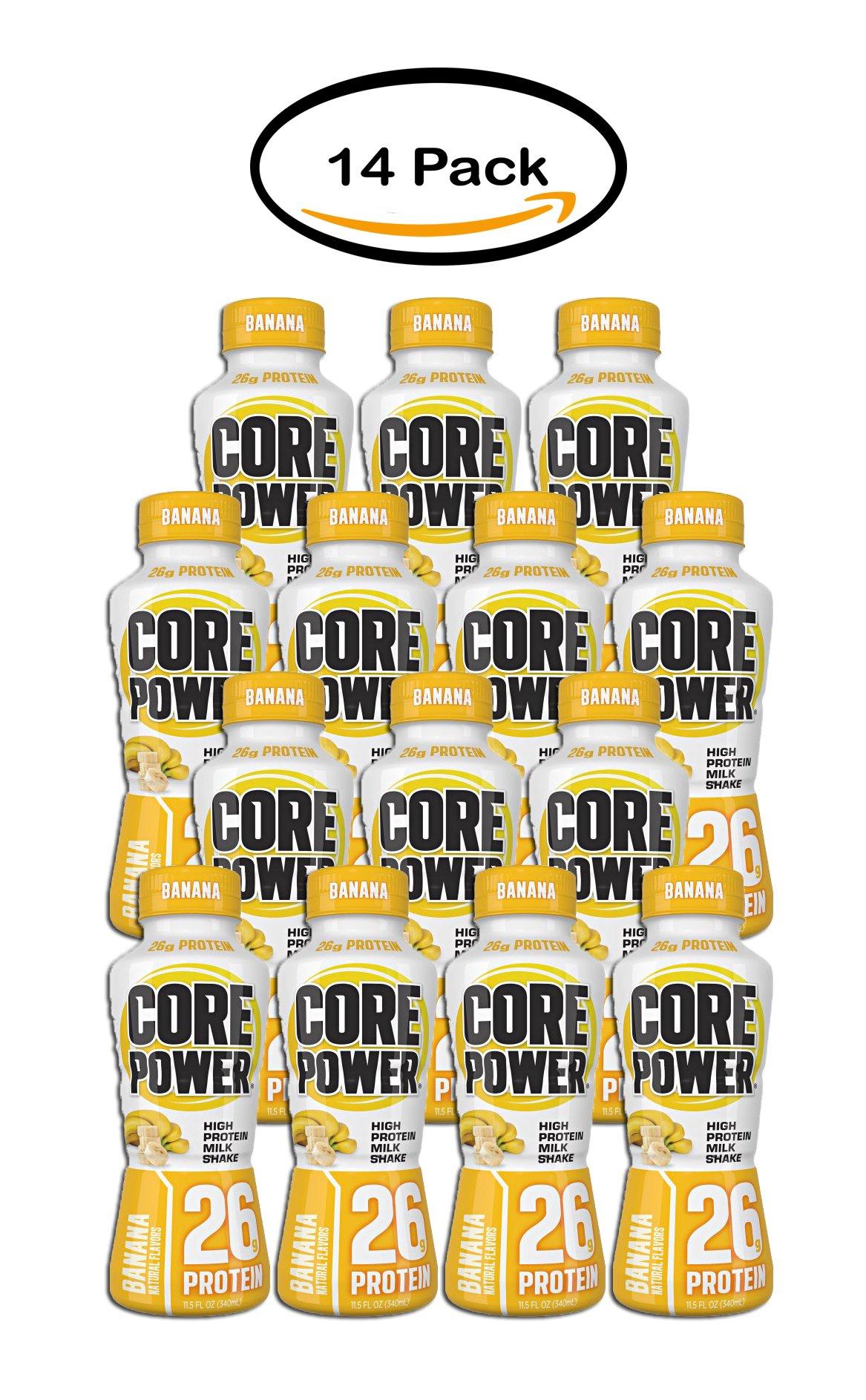 PACK OF 14 - Core Power® Banana High Protein Milk Shake 11.5 fl. oz. Plastic Bottle