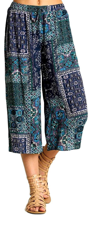 Umgee Women's Bohemian Palazzo Capri Flare Pants