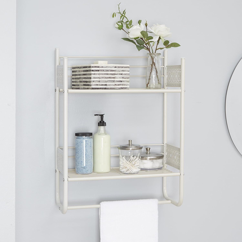 18 W x 24 H White Silverwood Filigree Bathroom Collection Wall Shelf