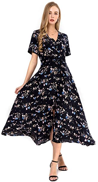 b4344bbb3835e Wantdo Women's Button Up Split Floral Print Maxi Dress Casual V-Neck Short  Sleeve Long Dresses
