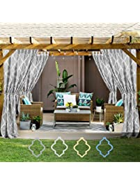 Marvelous Moroccan Tile Print Outdoor Curtains 84 Inches Long For Porch Quatrefoil  Printed Water Repellent Lattice Tab