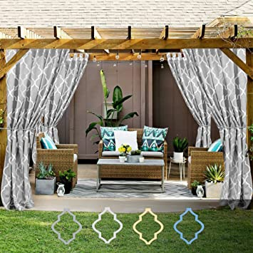 Moroccan Tile Print Outdoor Curtains 84 Inches Long For Porch Quatrefoil  Printed Water Repellent Lattice Tab