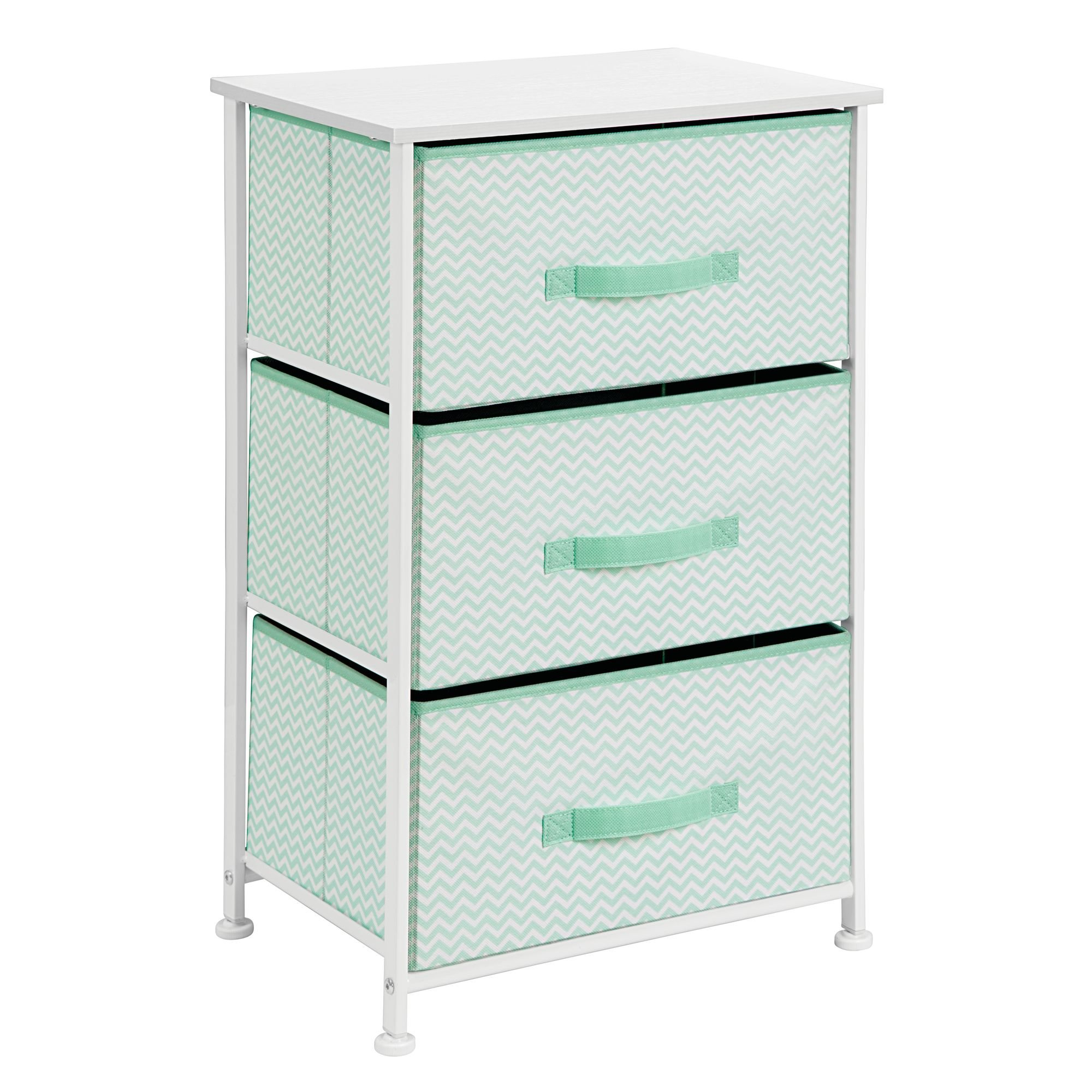 mDesign Vertical Dresser Storage Tower - Sturdy Steel Frame, Wood Top, Easy Pull Fabric Bins - Organizer Unit for Bedroom, Hallway, Entryway, Closets - Chevron Print - 3 Drawers, Mint/White by mDesign (Image #6)