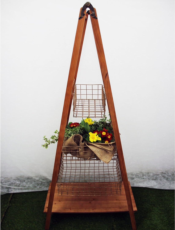Escalera de madera decorativa de Kaemingk | con 3 cestos de metal | tamaño: 170 cm: Amazon.es: Bricolaje y herramientas