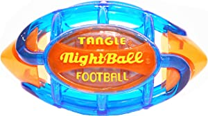 TANGLE NightBall Glow in The Dark Light Up LED Football, Large, Blue with Orange