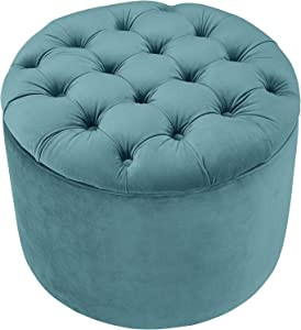 TOV Furniture Queen Velvet Storage Ottoman, Sea Blue (( Upgrade. ) Sea Blue)