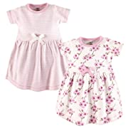 Touched by Nature Baby Girls Organic Cotton Dresses, Cherry Blossom Short Sleeve 2 Pack, 3-6 Months (6M)