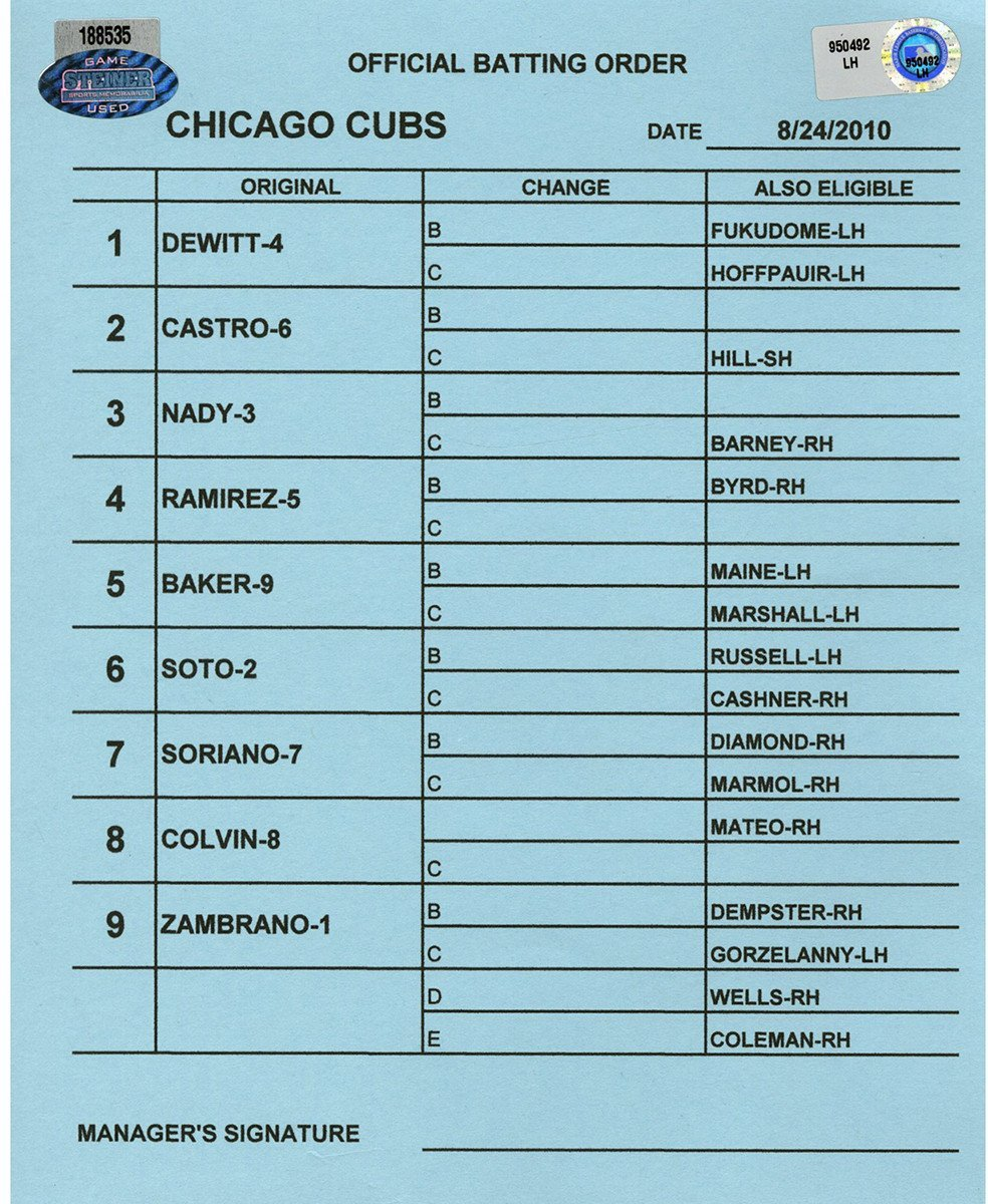 Chicago Cubs at Washington Nationals 8 24 2010 Blue Game Used Line up Card (LH950492)