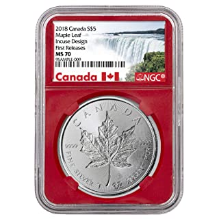 2018 CA Silver Maple Leaf - Incuse $ Coin FR Red Core Hol $5 MS70 NGC