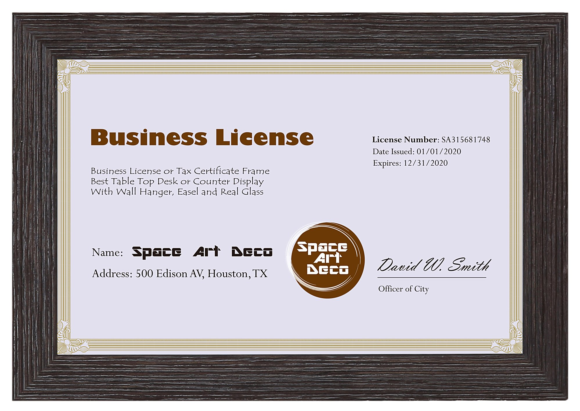 Space Art Deco 5.5x8.5 Dark Brown Textured Frame - Easel Stand - D-Ring Hangers - for Business License and Certificates - Desk/Table Top Display - Glass (Dark Brown) by Space Art Deco