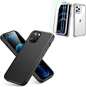 ESR Premium Real Leather Black Case for iPhone 12/iPhone 12 Pro + ESR Alliance Series Clear Tough Case for iPhone 12/12 Pro [2 Screen Protectors]