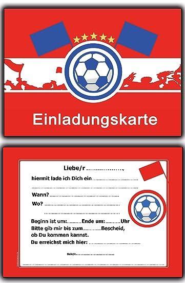 8 X Einladungskarten Fussball Rot Weiss Kindergeburtstag Einladung  Einladungen Karte Einladungs Set Motto