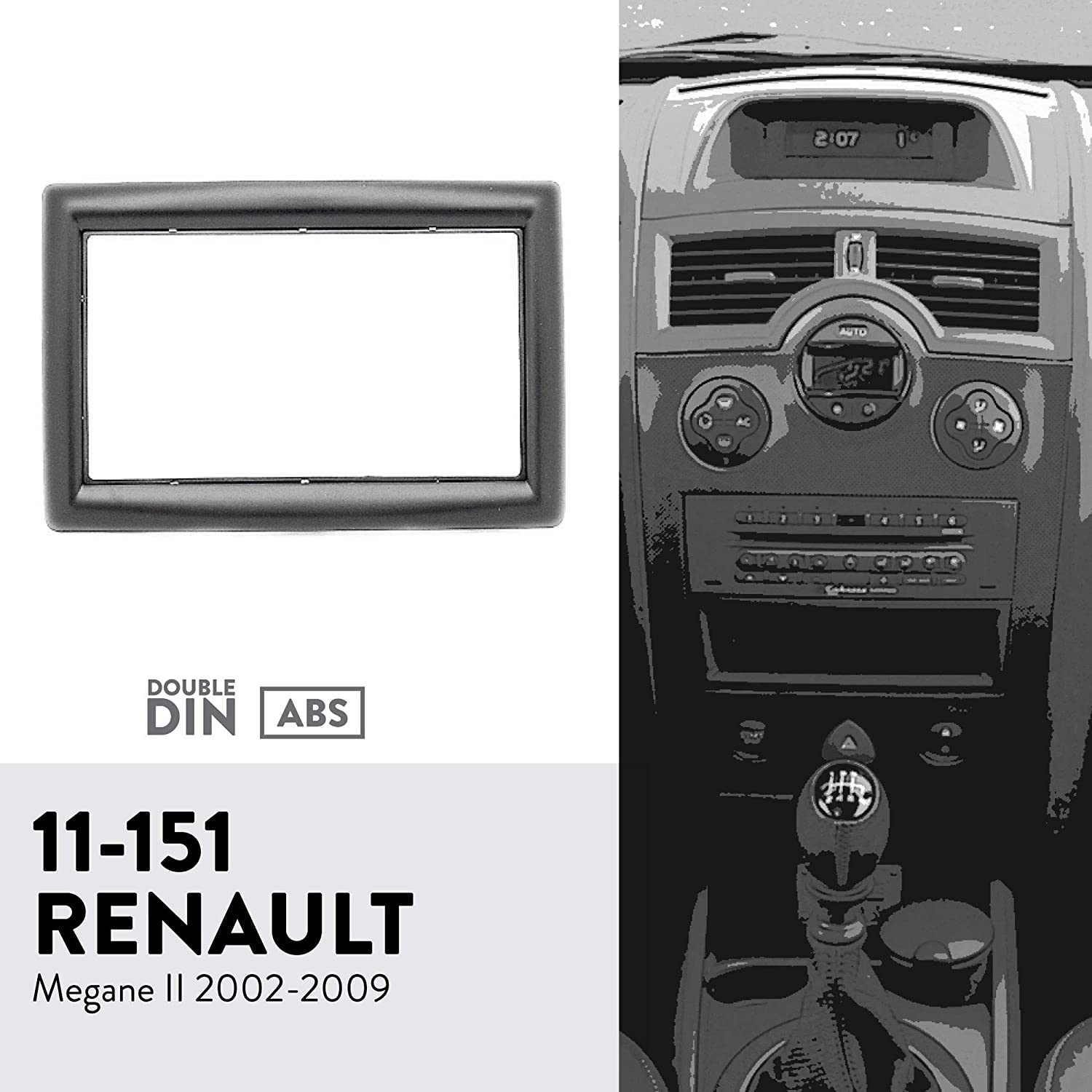 UGAR 11-151 Trim Fascia Car Radio Installation Mounting Kit for Renault Megane II 2002-2009