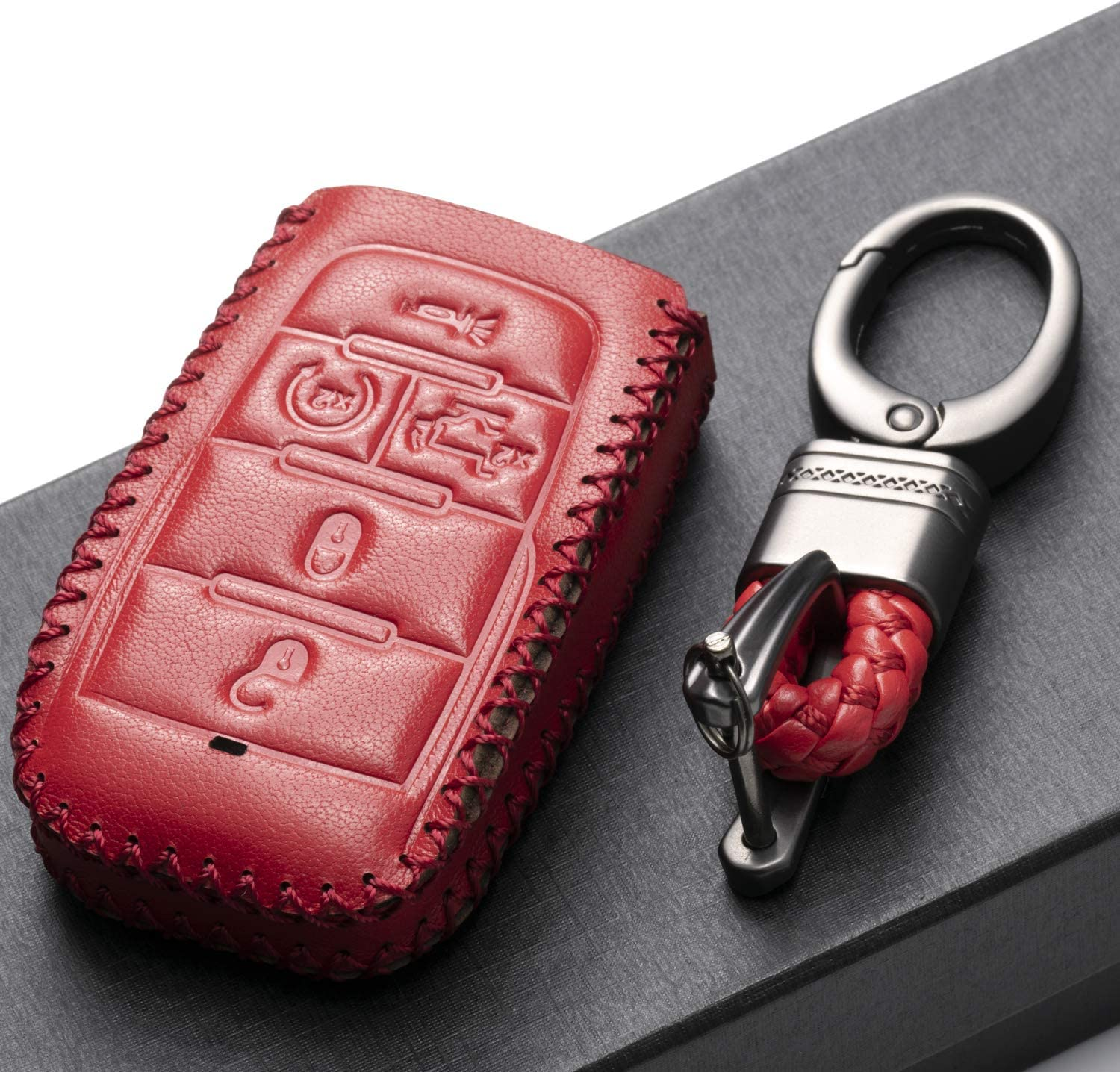 5-Button with Tailgate, Brown Vitodeco Genuine Leather Keyless Entry Remote Control Smart Key Case Cover with Leather Key Chain for 2019-2020 RAM 1500
