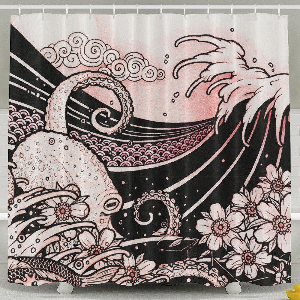 Japanese Tattoo Style Original Sketch Drawing Shower Curtain 60 X 72 Inch Mildew Resistant/ Antibacterial/ Odorless/ Waterproof Stylish Design