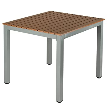 Amazoncom Cortesi Home Home Avery Aluminum Outdoor Table In Poly - Teak and aluminium outdoor table
