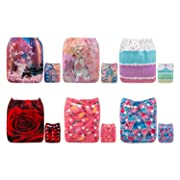 ALVABABY Cloth Diapers One Size Adjustable Washable Reusable for Baby Girls and Boys 6 Pack + 12 Inserts 6DM53