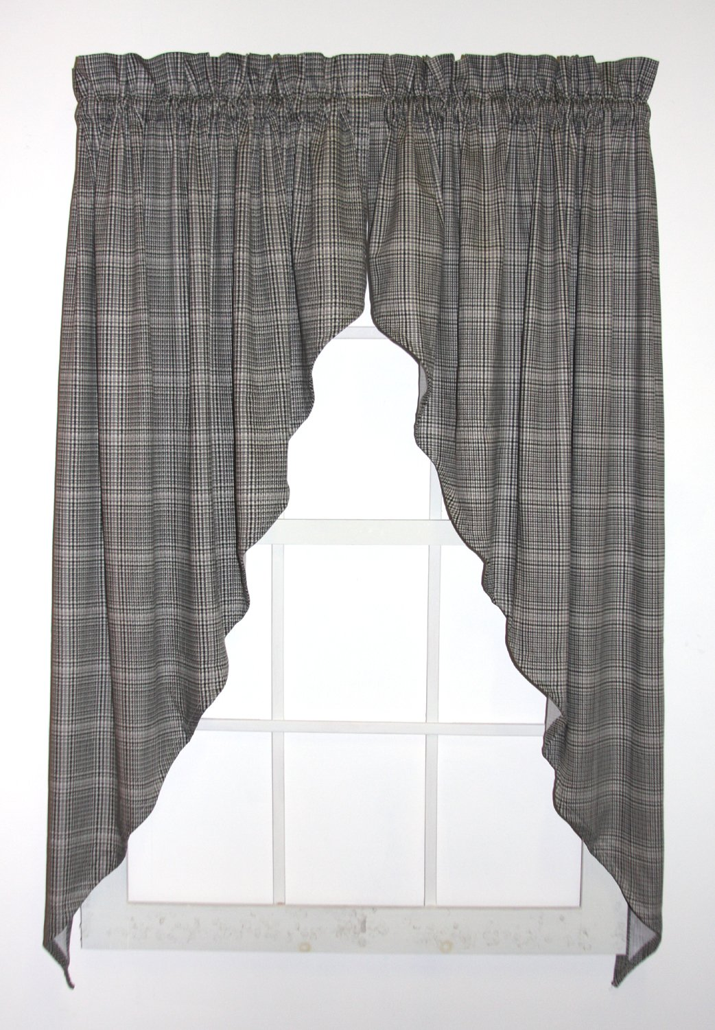 Morrison Plaid Check Print Swags / Jabot Curtains Pair 90-Inch-by-36-Inch, Black Window Toppers