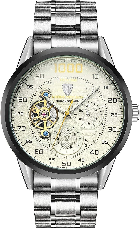 Reloj Cronógrafo Automático Tourbillón con Rotor Visible y Pulsera de Acero Inoxidable para Hombre