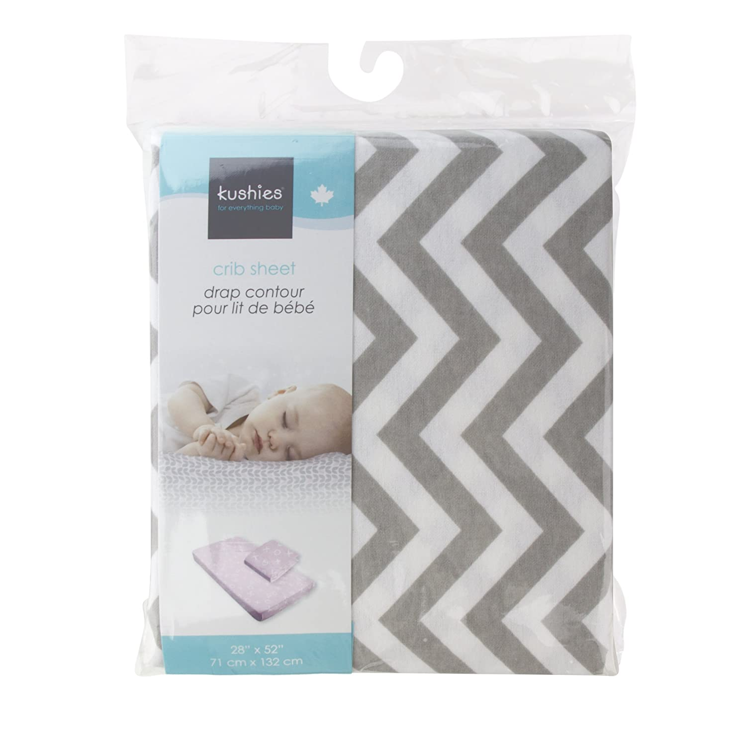 Kushies Baby Fitted Crib Sheet White//Grey Ornament