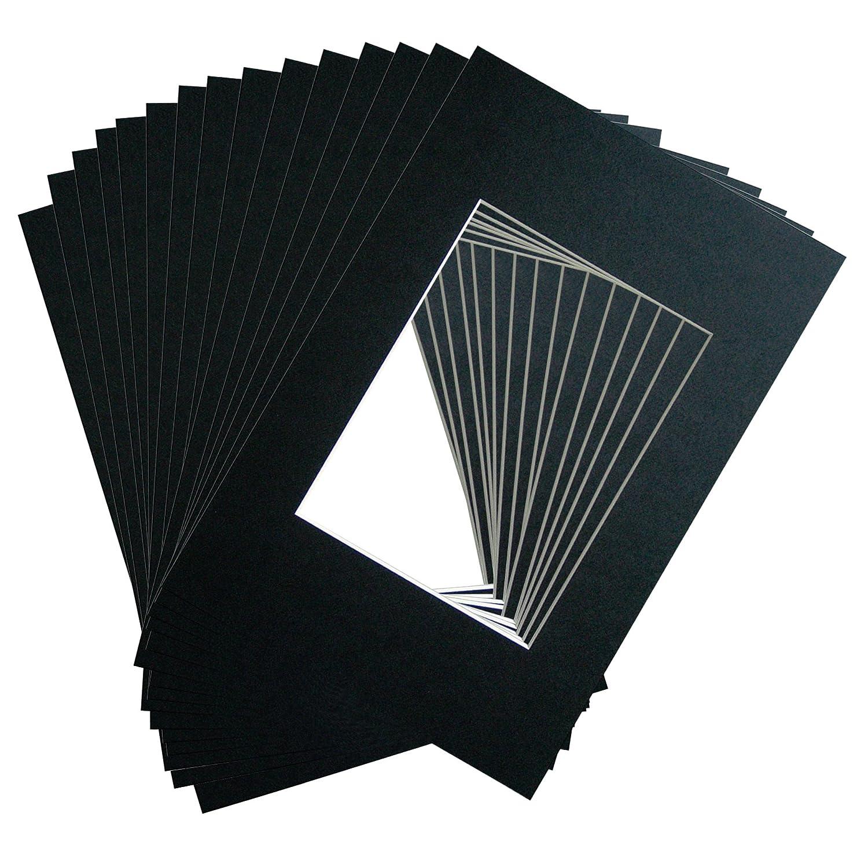 Passepartout -Pacchetto di 15- Colore della NERO- Formato esterno: A4 (21x29, 7cm) / Taglia Formato: 15x20cm Ray & Chow