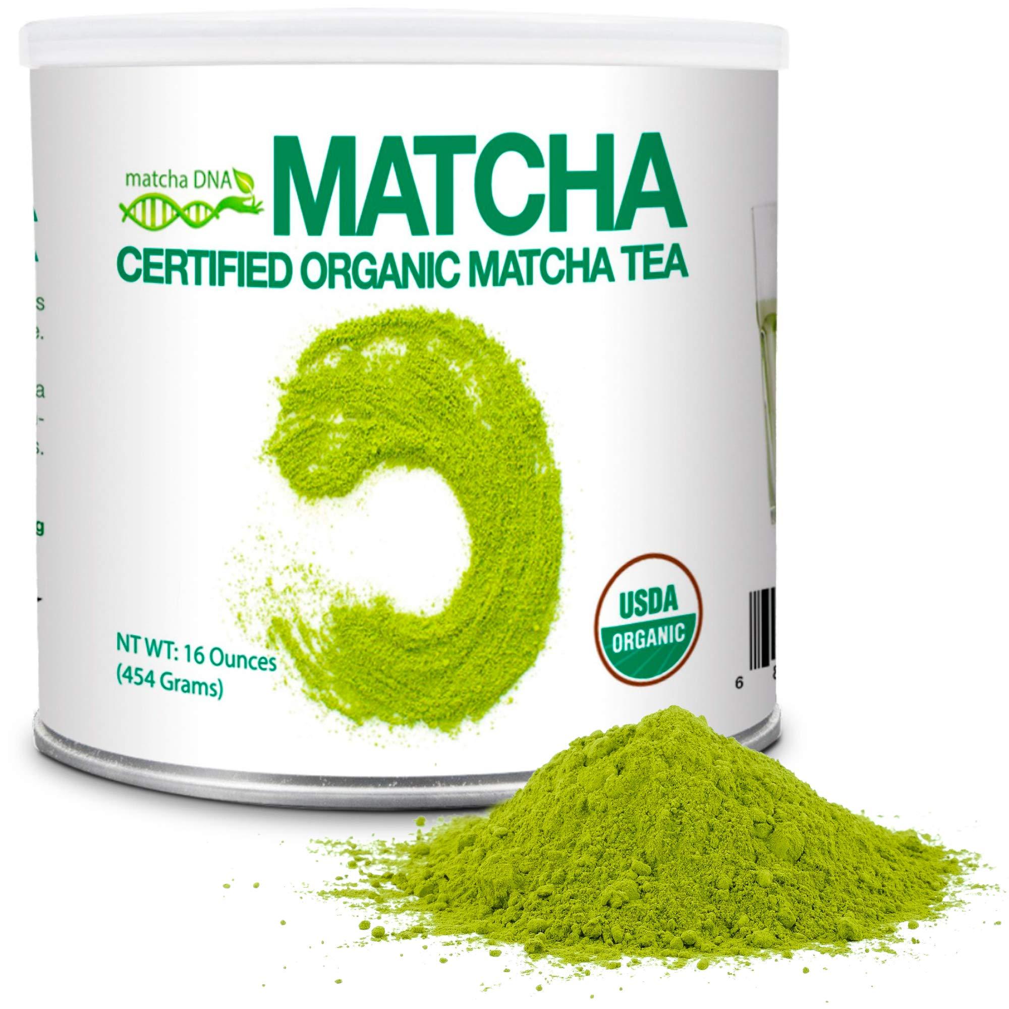 MatchaDNA 1 LB Certified Organic Matcha Green Tea Powder (16 OZ TIN CAN) by MATCHA DNA