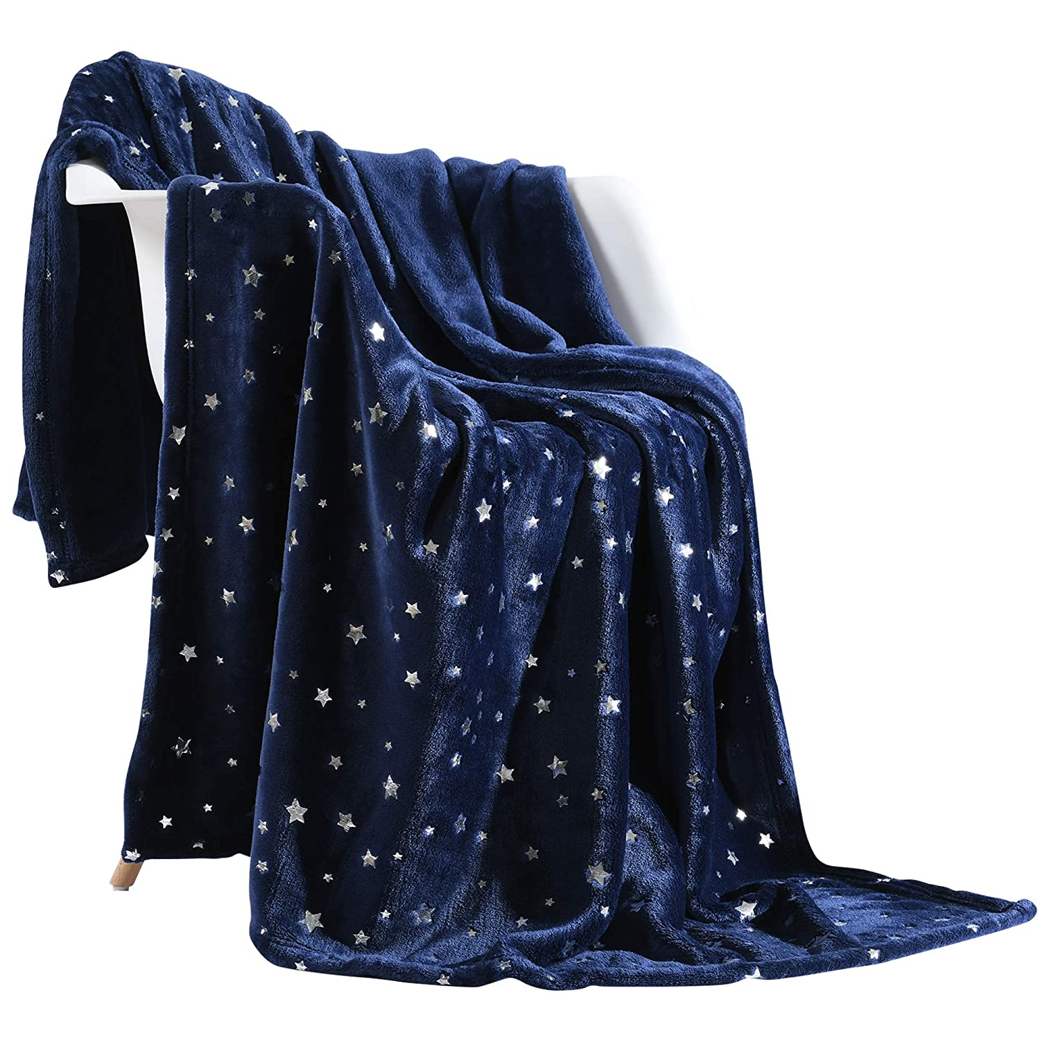 "NANPIPER Throw Blanket, Ultra Soft Thick Microplush Bed Blanket, All Season Premium Fluffy Microfiber Fleece Throw for Sofa Couch (Twin Size 65""x80"", Navy Blue)"