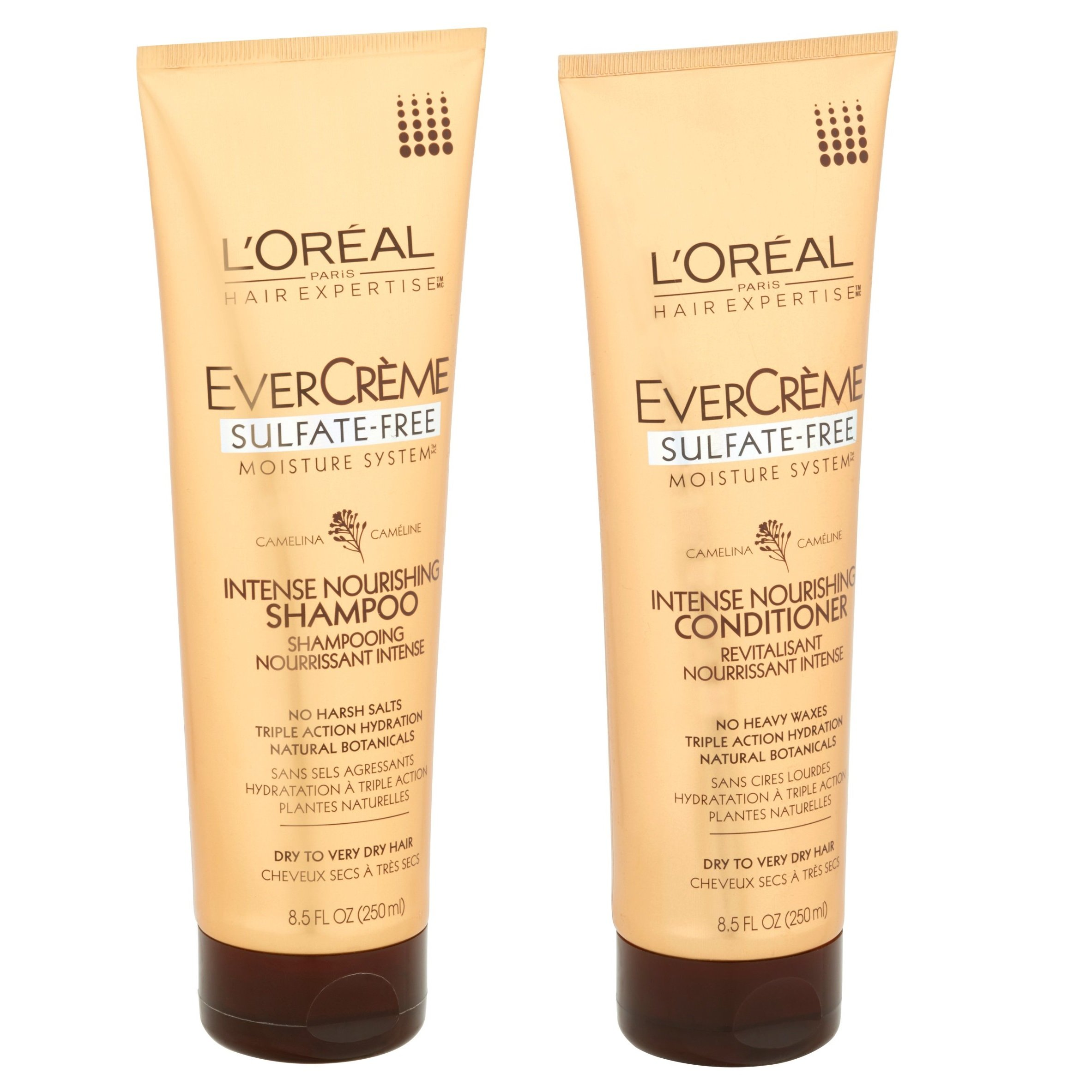 L'Oreal Paris EverCreme Sulfate-Free Moisture System Intense Nourishing, DUO set Shampoo + Conditioner, 8.5 Ounce, 1 each