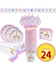 FZR Legend Rainbow Unicorn Party Supplies Set - Serves 24 - Including Unicorn Happy Birthday Banner, Plates, Cups, Napkins, Straws and Tablecloths