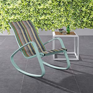 Modway Traveler Outdoor Patio Aluminum Mesh Rocking Sling Lawn Chair Glider in Green Stripe