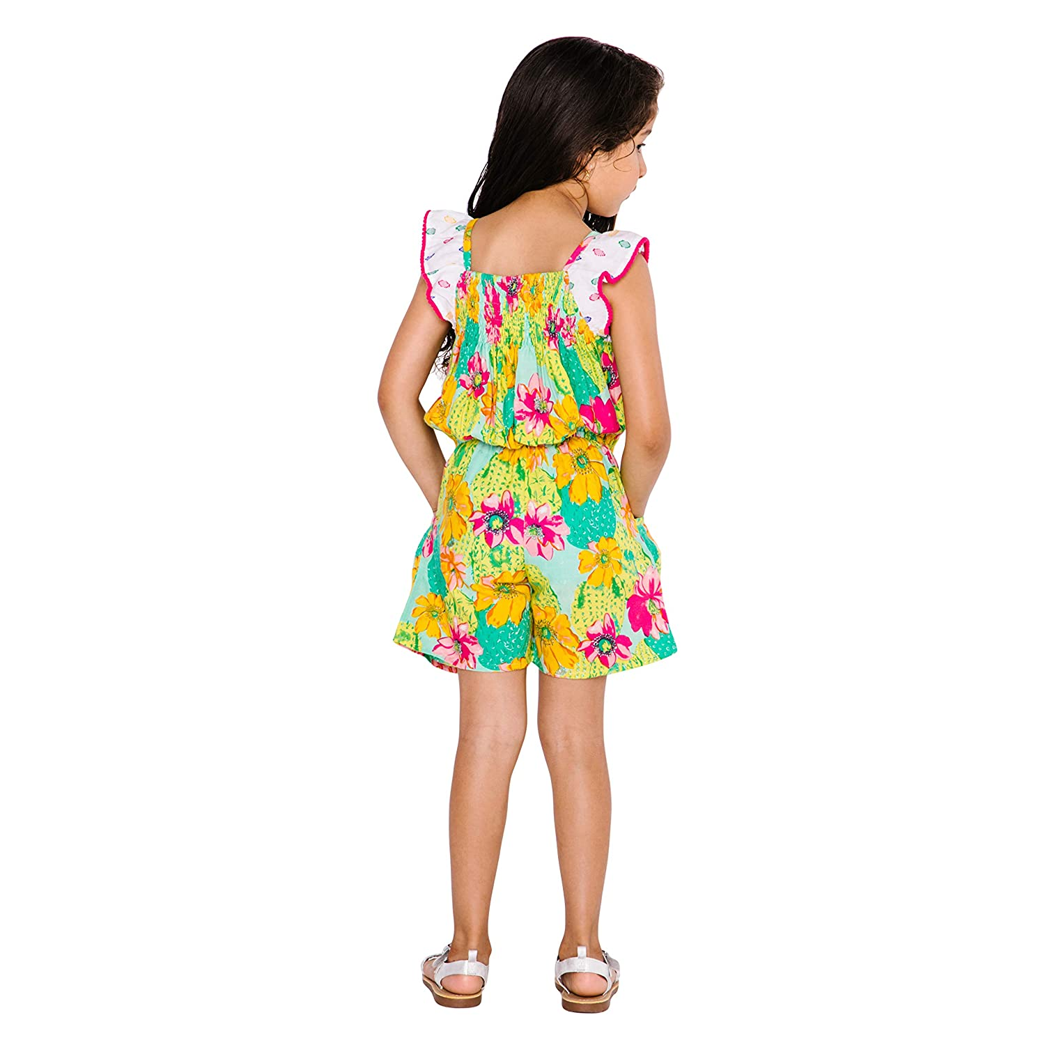 Masala Kids Girls Little Zuri Romper Cactus Floral Multi