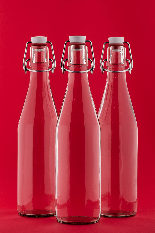 10 x 750 ml plancha Botella de planchar cierre cristal vacías con cierre clip de de vino licor Vinagre Aceite de 0,75 litre l de slkfactory 10 unidades weiß