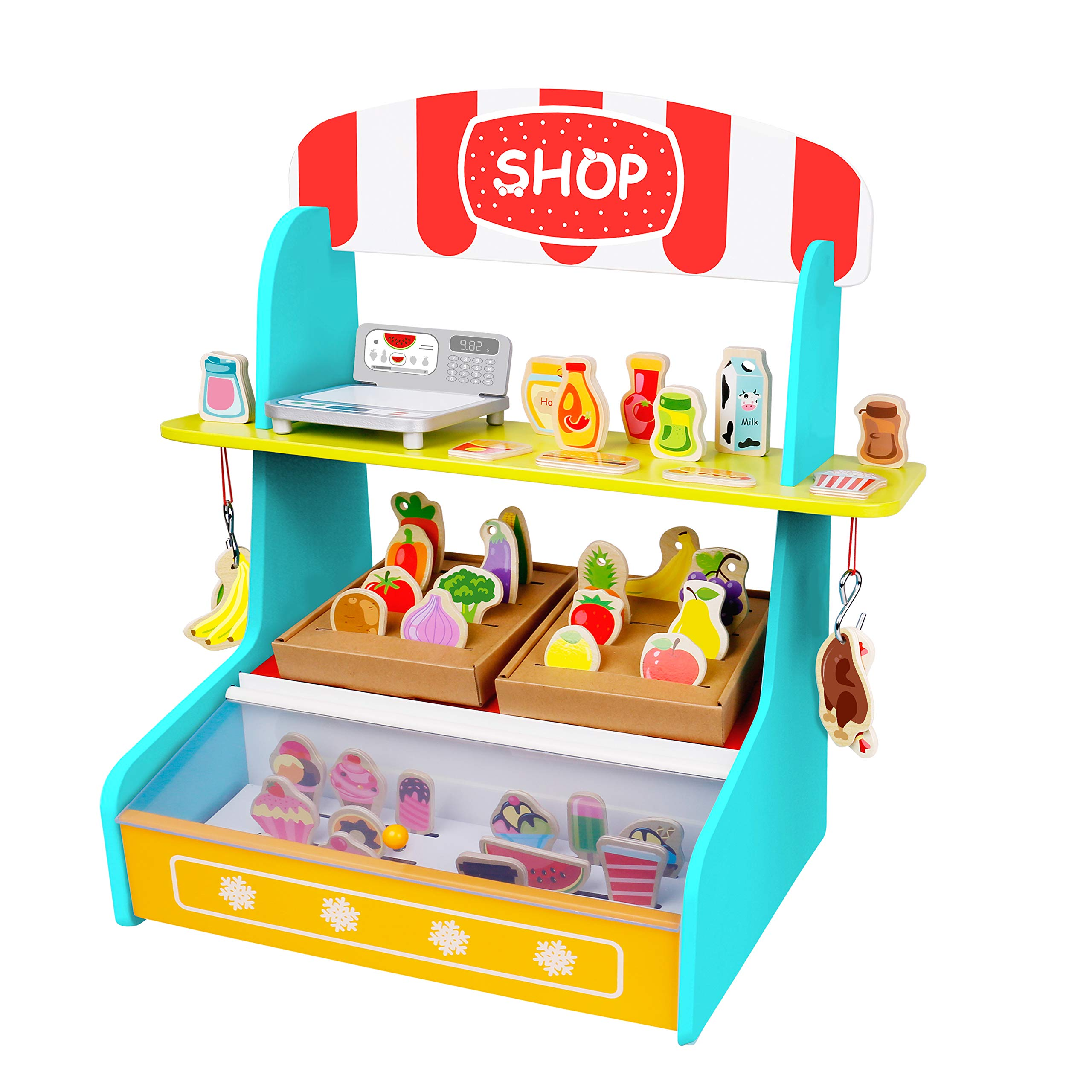 TOYSTER'S My Play Shop Wooden Grocery Store Stand | Pretend Play Kitchen Workshop for Toddler Girls and Boys | Farmers Market Lemonade Wood Toy Includes Play Fruits, Vegetables and Ice Cream