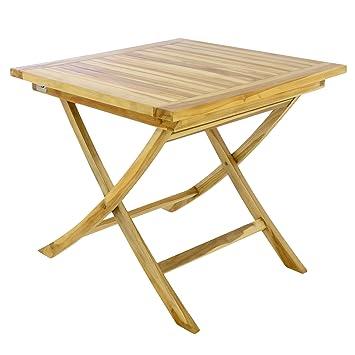 Tisch Balkon Garten.Divero Balkontisch Gartentisch Beistelltisch Teak Holz Tisch Für Terrasse Balkon Garten Wetterfest Massiv Unbehandelt 80 X 80 Cm Natur Braun