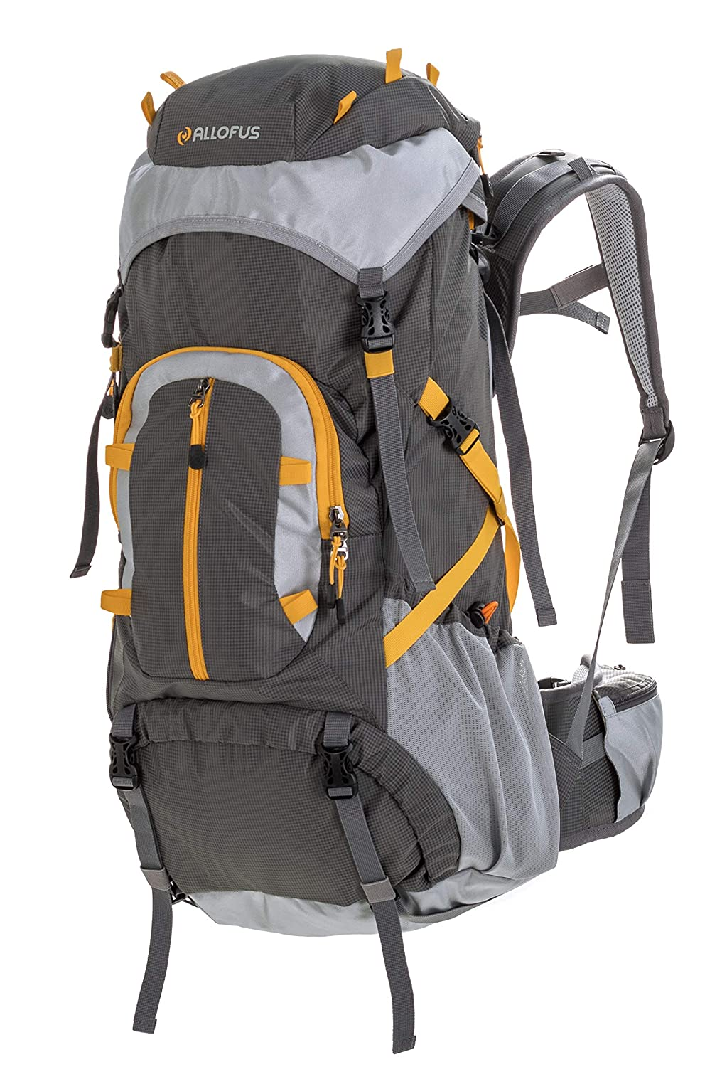 All of Us 45 Liter Unisex Internal Frame Hiking and Travel Backpack for Youth and Adults with Waterproof Cover – Grey Yellow