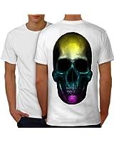 coloré pixel Art Crâne Couleur Peur Men S-5XL T-shirt le dos   Wellcoda
