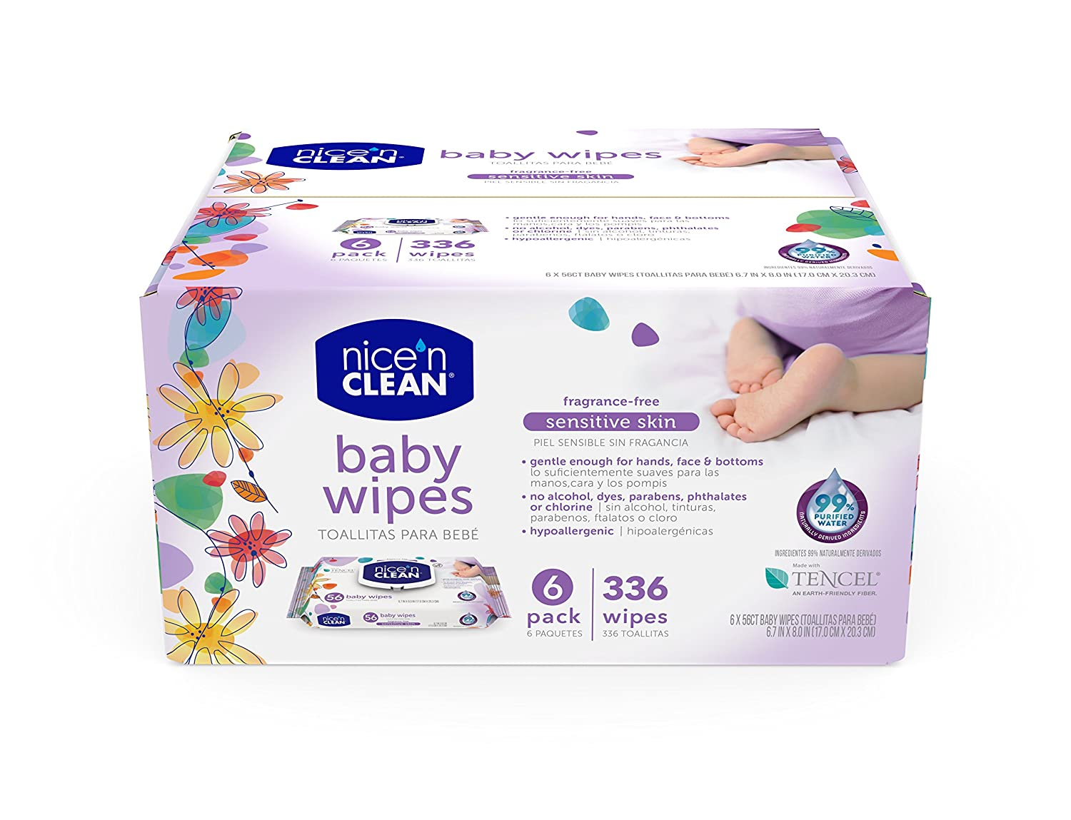 Amazon.com : Nice n Clean Sensitive Skin Baby Wipes, Fragrance-Free, 336 Count : Health & Personal Care
