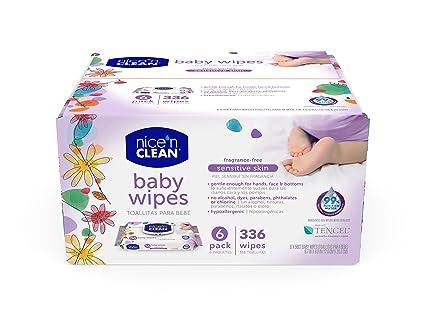 Nice n Clean Sensitive Skin Baby Wipes, Fragrance-Free, 336 Count