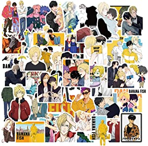 50 Pack Classic Anime Banana Fish Stickers Laptop Water Bottles Hydroflasks Phone Guitar Skateboard Computer Vinyl Sticker Waterproof Cute Cartoon Aesthetic Trendy Decals for Teens Boys Adults