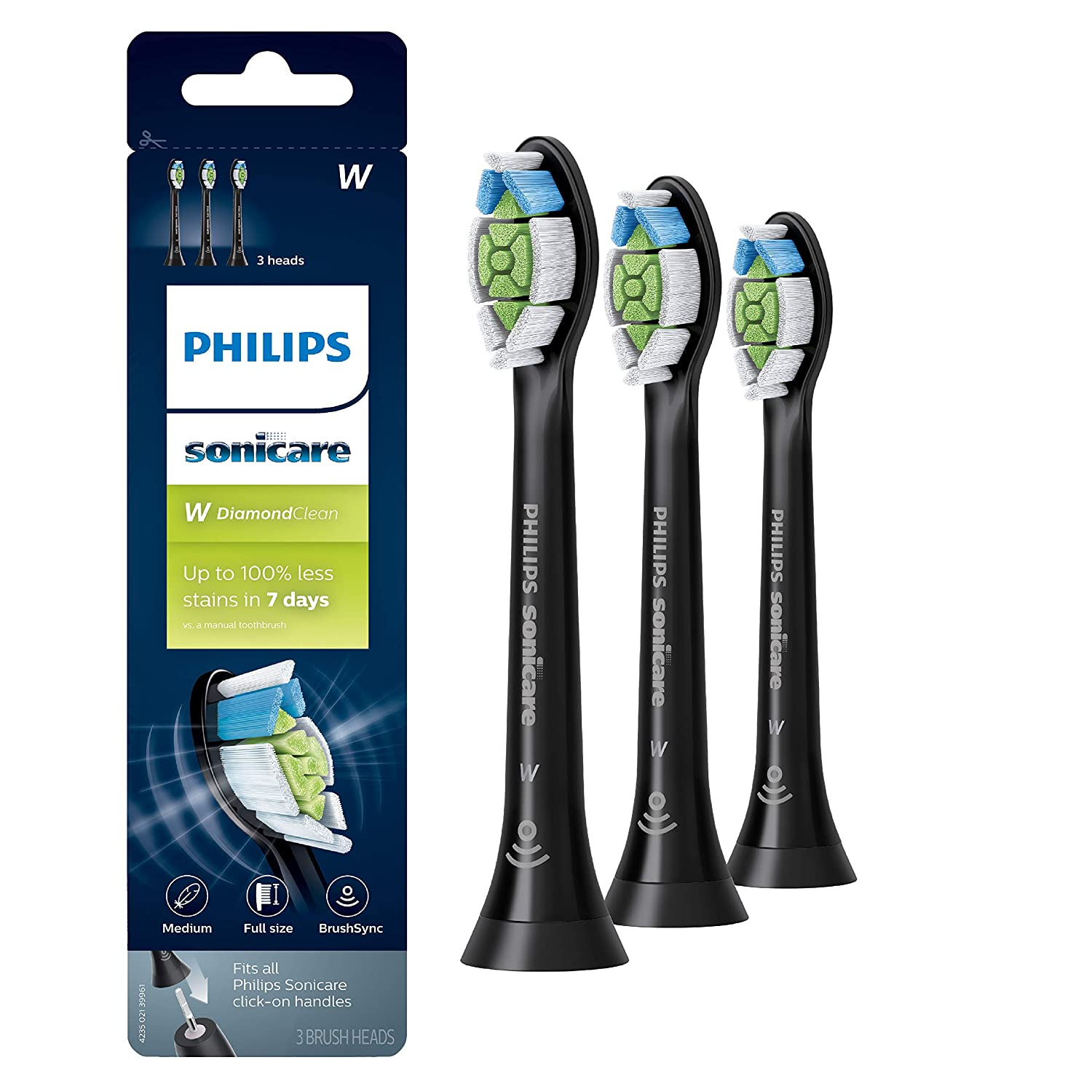Genuine Philips Sonicare DiamondClean Toothbrush Head, 3 Pack, Black, HX6063/95