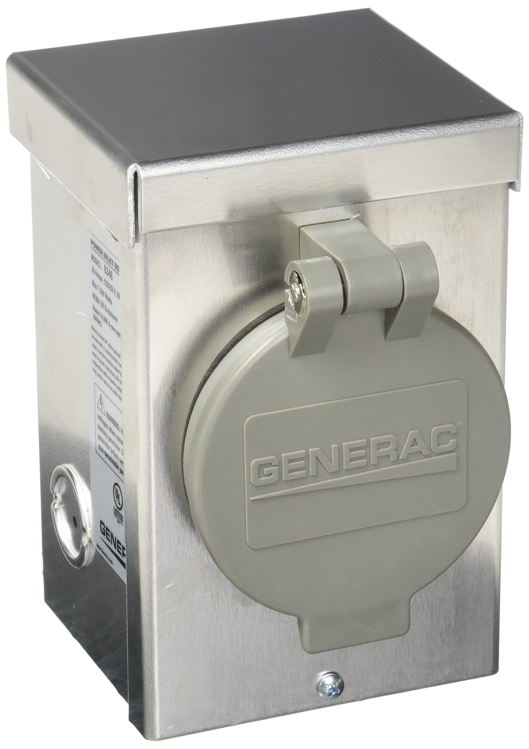 Generac 6346 30-Amp 125/250V Aluminum Power Inlet Box with Spring-Loaded Flip Lid by Generac