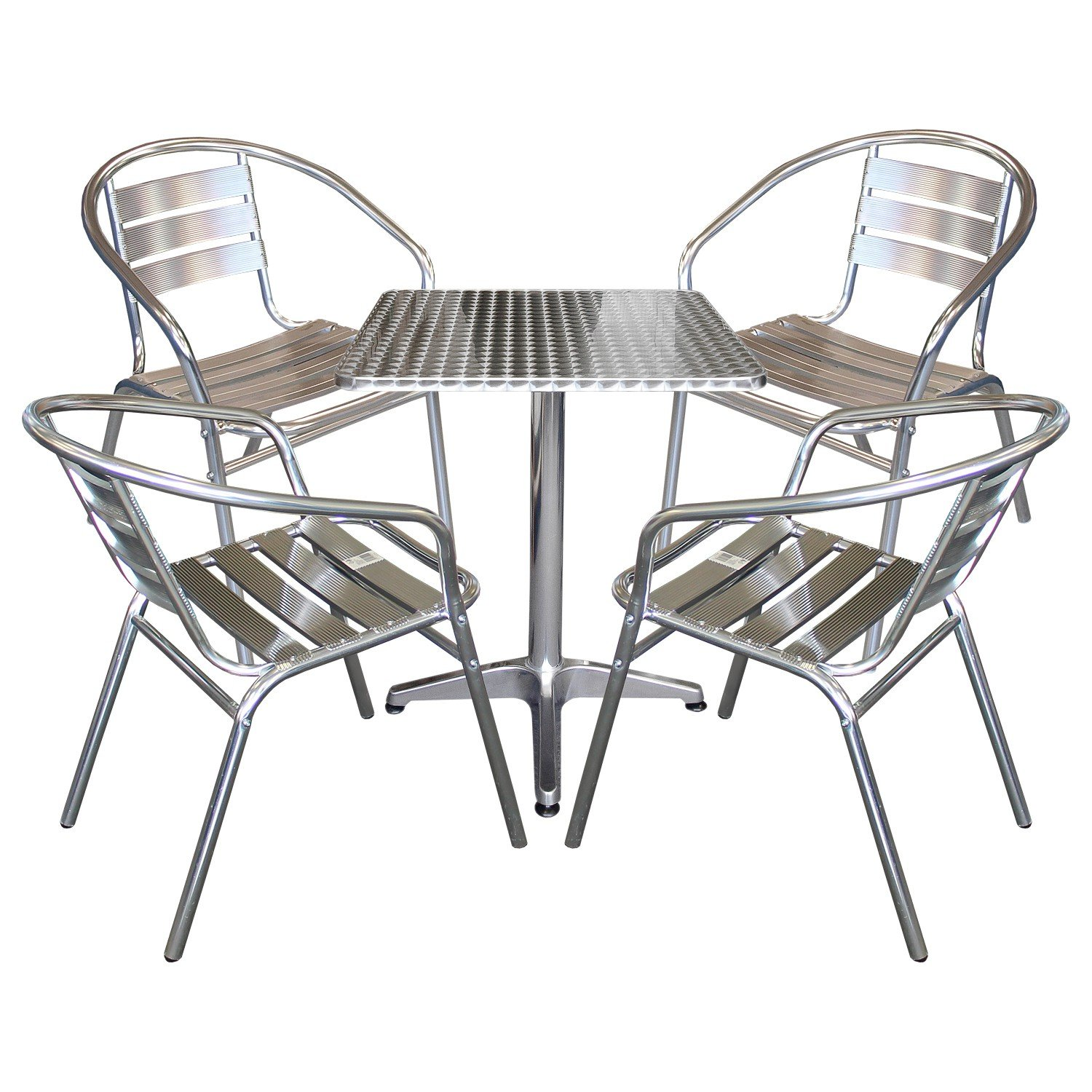 5tlg balkonm bel terrassenm bel bistro set 4x aluminium bistrostuhl stapelstuhl bistrotisch. Black Bedroom Furniture Sets. Home Design Ideas
