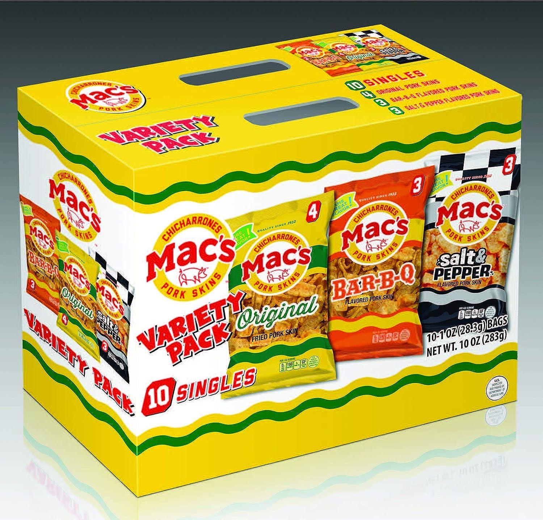 Mac's Snacks Traditional Variety Pack - Comes With 4 Original, 3 Bar B Q, & 3 Salt & Pepper - Crunchy Low Carb Chicharrones / Pork Rinds Snack (1oz, 10 Pack)