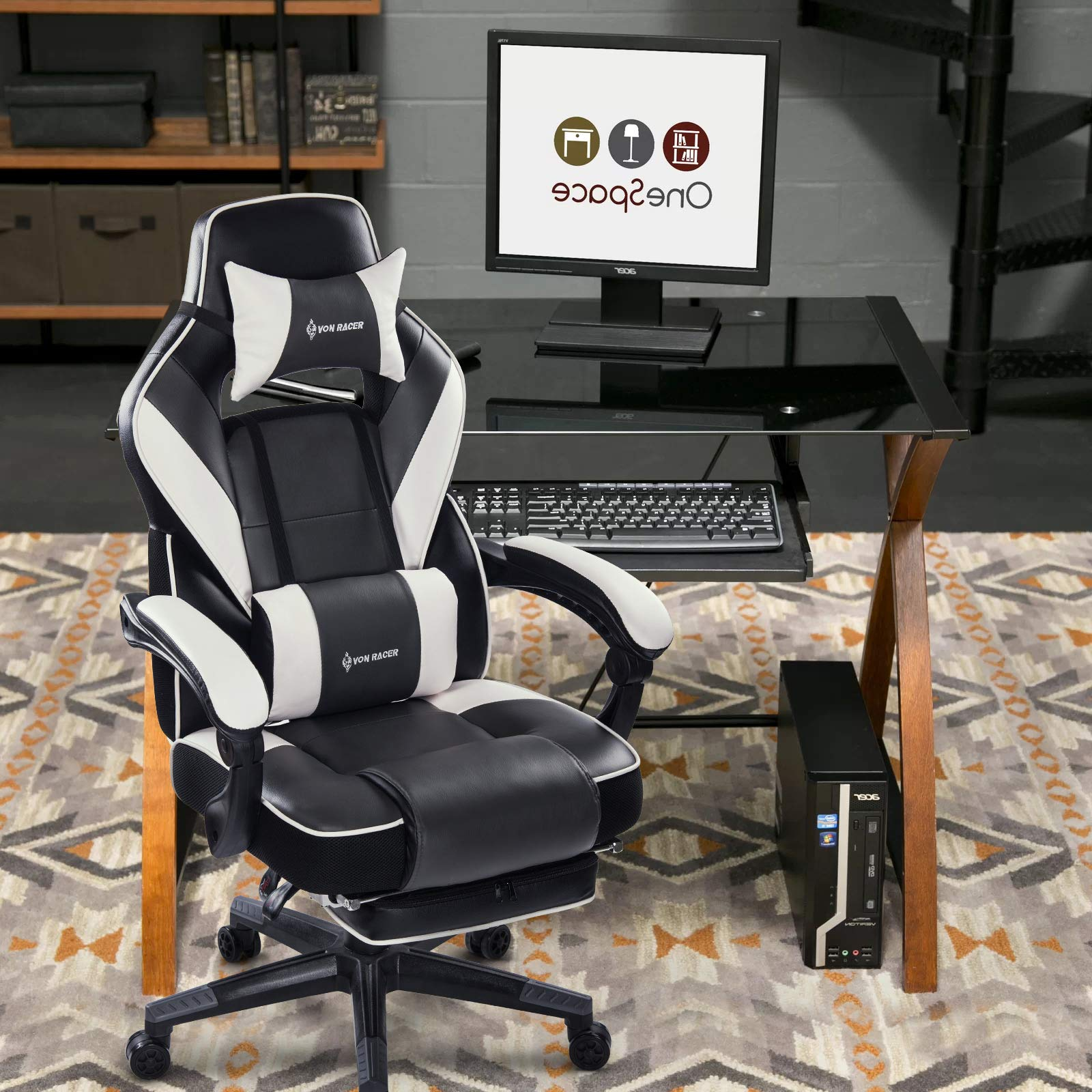 VON RACER Massage Reclining Gaming Chair - Ergonomic High-Back Racing Computer Desk Office Chair with Retractable Footrest and Adjustable Lumbar Cushion (Gray) by VON RACER (Image #7)
