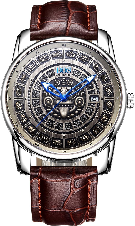 Angela BOS Herren Bronze Citizen Mechanische Bewegung Vintage Armbanduhr Kalbsleder Band Silber 9018