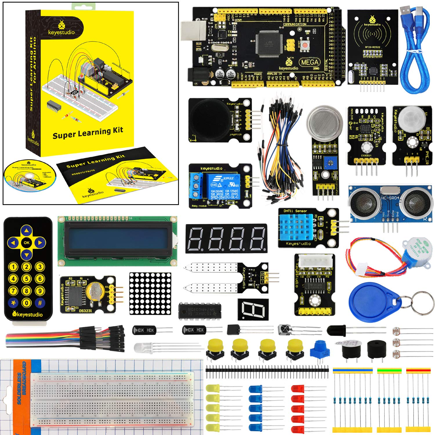 KEYESTUDIO Mega 2560 Starter Kit for Arduino Project, Perfect Stem  Educational Gifts
